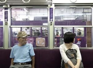 Kyoto - Passengers in Keifuku Electric Railroad
