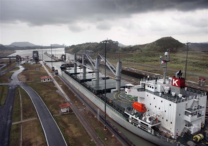 A ship departing the Panama Canal at Miraflores Locks
